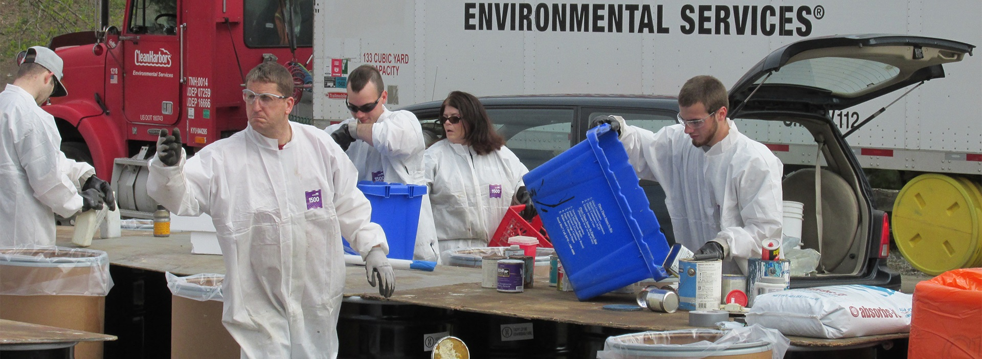 Hazardous waste being collected