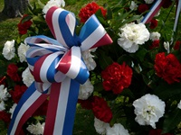 The ribbons on the ceremonial wreaths which are later laid on the Washington, Kosciusko and Pulaski monuments.