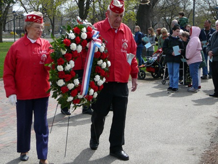 Members of the Cambridge Polish American Veterans Prepare to Place a Wreath   (4/20/2009) - Cynthia Abatt