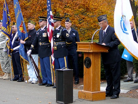 Veterans' Services Director Bob Stevens reads the Governor's Veterans' Day Prociamation   (11/11/2009) - Cynthia Abatt