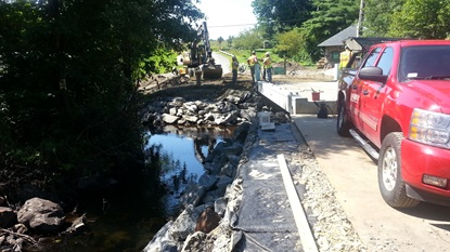 Securing new bridge deck over Stony Brook