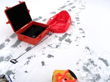 CWD staff carried monitoring equipment to the site on sleds.