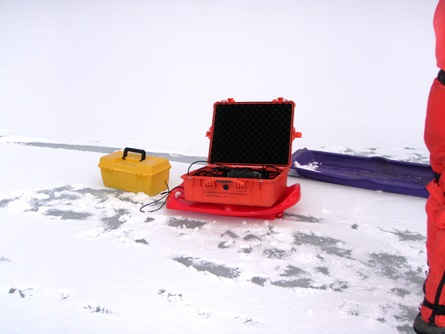 Staff carried the multiprobe case and water pump out to the sampling sites on sleds.
