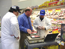 Verifying tare weights with store personnel